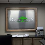 custom indoor metal lobby sign